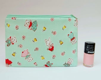 Retro Bunnies and Kittens Zip Pouch in Mint Green, Purse for Cards, Money, Make Up, or Pens and Pencils