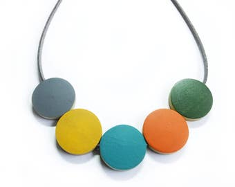Wooden Bead Necklace, Summer Jewellery, Scandinavian, Retro Necklaces, Simple Necklace, Gift For Her, Mid Century Modern Colour, Mothers Day