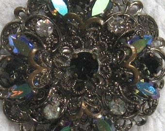 Czech Glass Filigree Brooch . Czech Glass Brooch . mourning brooch .  AB czech glass pin .
