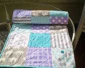 Modern baby quilt, teal grey purple, baby girl quilt, handmade baby quilt, crib bedding, woodland, organic, elephants, chevron-Birch Ellie