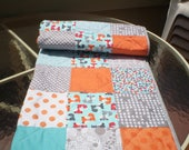 Handmade Baby quilt, Fox baby quilt, baby boy or girl bedding quilt, rustic, woodland, toddler, crib, orange, grey, teal,aqua, Little Foxes