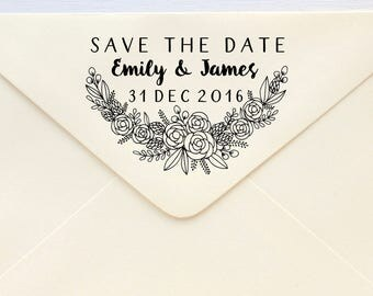 Save The Date Stamp - Floral - Rubber Stamp or Self-inking Stamp