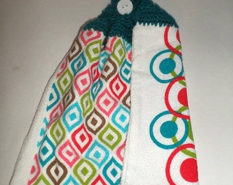 Blow Out Sale Double Crochet Top Towel - Hanging Dish Towel - Mod Shapes - Teal, Red, Lime Green, Turquoise Blue Towel - Double Sided Towel