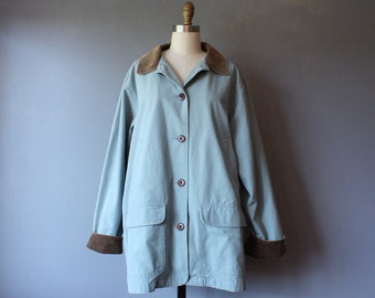 vintage ll bean barn jacket / womens field jacket / blue canvas jacket / XL