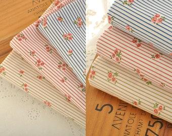 4568 - Floral Stripe Cotton Fabric - 43 Inch (Width) x 1/2 Yard (Length)