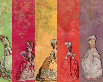 Instant Download - Marie Antoinette Paper Pack  - 5 X 7 - High Quality Collage Sheet - Printable Download - Gift Tags - Scrapbook - Journal