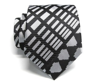 Mens Tie. Black and Silver Mens Necktie with Matching Pocket Square Option
