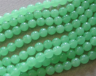 Eight 8 Inch Strands, Green  8mm Glass, More Lime than Photo, Super Clearance Sale for All, Closeout, Britz Beads Supply