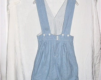 Vintage 80s Ladies Overall Shorts Jrs L High Waist Cotton Pleated