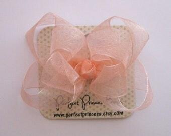 Medium Double Layer Loopy Style Organza Hair Bow in Light Peach