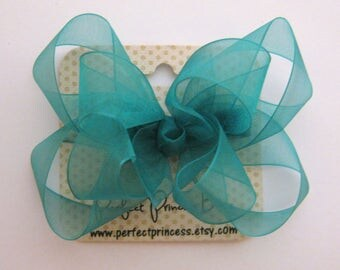 Medium Double Layer Loopy Style Organza Hair Bow in Teal Green Jade