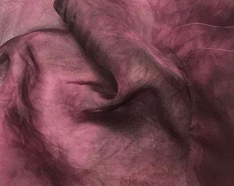 Hand Dyed MAUVE Silk Organza Fabric - 1/2 Yard