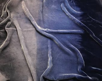 OMBRE Hand Dyed Silk VELVET Fabric Midnight Blue to Gray fat 1/4 remnant