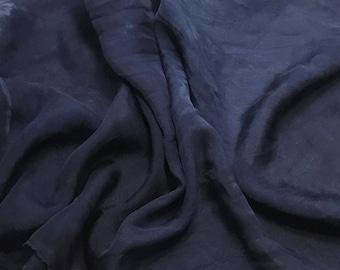 Hand Dyed DARK DENIM BLUE Soft Silk Organza Fabric - 1/3 yard remnant