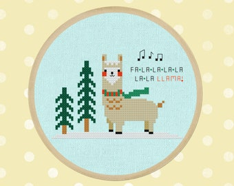 Falala Llama. Best Seller Modern Simple Cute Christmas Llama Counted Cross Stitch PDF Pattern. Instant Download