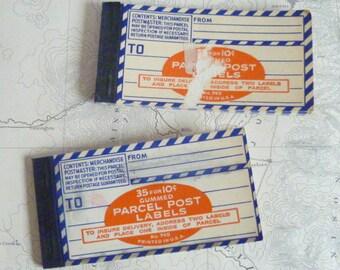 2 Vintage packets of Dennison Parcel Post Labels Blue Stripped Address Labels Scrapbooking Altered Art Supplies