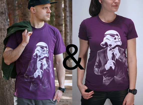 Couples matching shirts, Smart trooper graphic tee set, husband wife t-shirts, wedding gift for geeks, his and hers, Christmas gift