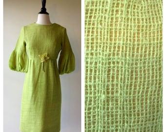 1960s Vintage Dress - 60s Mod Green Dress