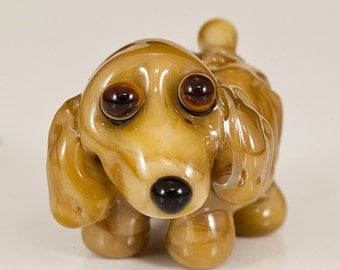 Tan Spaniel Lampwork Dog Bead