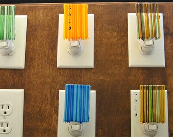As seen in HGTV Magazine, Fused Glass Nightlight, Dripping Glass, Yellow, Blue, Green and Multicolor Nightlight