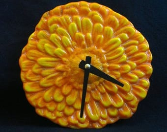 Orange Zinnia Flower Clock, Orange Flower Clock, Fused Glass Clock, Orange and  Yellow Clock, Flower Wall Clock