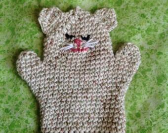 Kitty Bath Mitt, crocheted, cotton, child's bath mitt