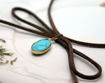 Brown Bow Tied Leather Choker with Faux Turquoise Pendant