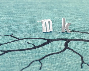 Initial Earrings, Silver Letter Earrings, Monogram Earrings, Initial Stud Earrings, Initial Studs, Alphabet Studs, Tiny Stud Earrings
