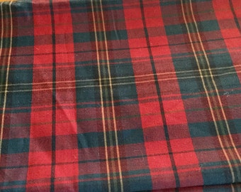 Red Blue Plaid Thin Wool Fabric 60 wide, 2 Yards