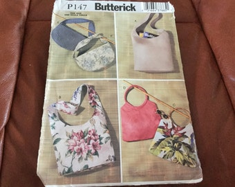 Butterick 147 Zippered and Purchased Handle Purse Bag pattern uncut  Sewing Pattern