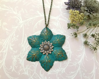 Boho Flower Necklace, Boho Wedding, Nature Inspired, Layering Necklace, Long, Turquoise Patina, Bohemian Necklace, Woodland Wedding, Floral