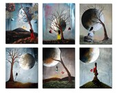Signed Art Prints - SALE - Last 2 Sets - Set of 6 - Home And Office Decor - Modern Fantasy - Erback Art 8x10 inches each - Ships Today