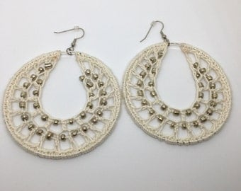 Crochet earrings, Beaded, silver, bohemian jewelry, crochet hoops, beaded earrings, crochet jewelry, hoop earrings, boho chic, white, beige