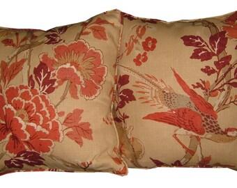 "Pair GP & J Baker Atsuko Brick 18"" Linen Cushion Covers"