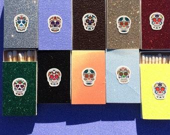 10 Sugar Skull Matchboxes - Party Wedding Favors Day of the Dead Mexican Dia De Los Muertos altar Calavera
