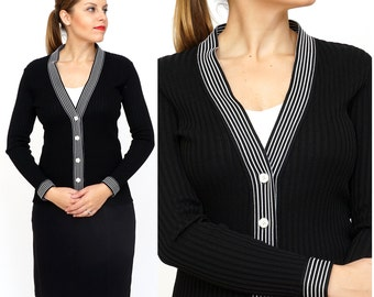 Vintage 1960s/70s Black and White Ribbed Fitted Cardigan by R&K Knits   XS/Small