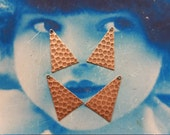 Copper Ox Plated Brass Triangle Hammered  Drops 1116COP x4