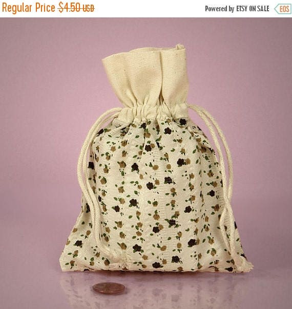Spring Sale 10% off 6 Pack Drawstring 4.75 X 5.95 Inch Natural Muslin Bags with Country Floral Brown Color Print