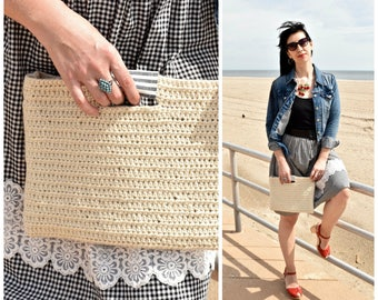 Deauville Tote | Handmade Crochet Tote Bag Handbag Purse Natural Ivory Ecological Wool Blue Ivory Linen Striped Lining - Ready to Ship