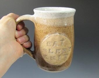 Pottery Mug - Coffee Mug - Tea mug - Ceramic Coffee Cup - Ceramic Mug - Eat Sleep Knit Mug - Mug for Knitters - Gift for Knitter - Brown Mug