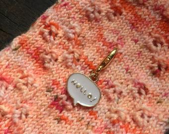 Hello! Knitting Stitch Marker / Progress Keeper