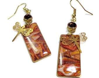 Dragonfly Bronze Earrings- polymer clay jewelry- Boho earrings- Swarovski Crystal Earrings- Ready to Ship- Gifts for Her Birthday