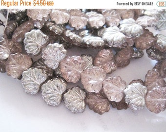 ON SALE 20 Two Toned Silver Rosaline Czech Pressed Glass Maple Leaf Beads 10 x 13mm