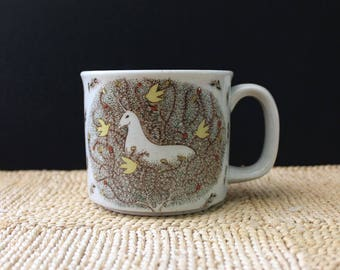 The Unicorn. 1970s rustic stoneware mug.