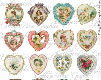 20 vintage Valentine Hearts digital download Multiple image ATC ACEO ECS Jewelry buy 3 get one free