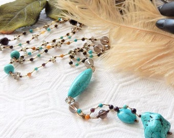 Sale.....One of a Kind Handcrafted Turquoise Tigers Eye Quartz Jasper Long Necklace