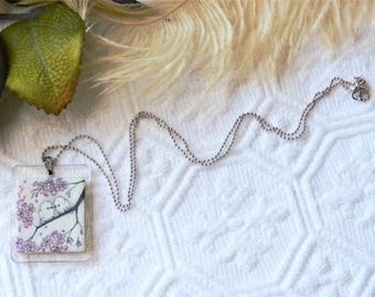 Artisan Crafted Sterling Silver Hand Painted Acrylic Pastel Love Bird Necklace