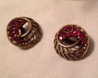 Vintage Cranberry Red Clip Earrings Open Weave Design
