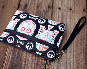 Star Wars Wristlet with removable strap - punk rock - C3PO R2D2