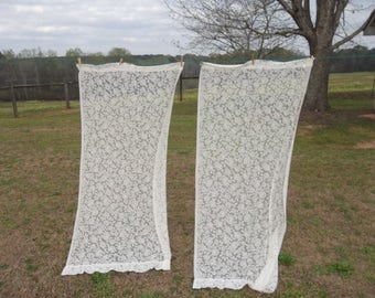 Vintage Ivory Lace Curtains Pair Lace Drapes Window Trreatments French Country Cottage Chic 2 Panels